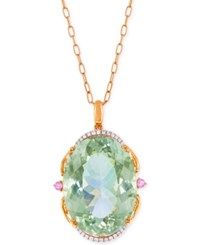 Lali Jewels Green Amethyst Pink Sapphire 73 3 4 Ct. T.W. And Diamond 1 4 Ct. T.W. Pendant Necklace In 18K Rose Gold