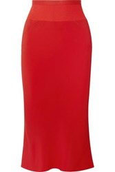 Rick Owens Ribbed Knit Trimmed Crepe De Chine Midi Skirt Red