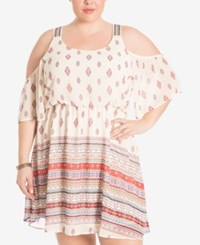 Eyeshadow Trendy Plus Size Cold Shoulder Peasant Dress White