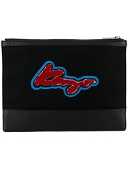 Kenzo Logo Embroidered Clutch Black