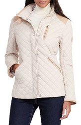 Lauren Ralph Lauren Women's Faux Leather Trim Quilted Jacket Light Sand