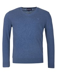 Barbour Pima V Neck Jumper Dark Chambray