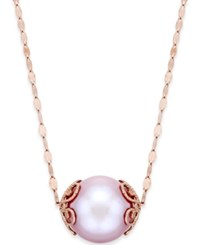 Macy's Natural Pink Windsor Pearl 13Mm Pendant Necklace In 14K Rose Gold