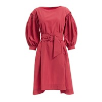 Wtr Red Belted Balloon Sleeve Dress