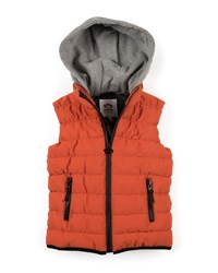 Appaman Apex Contrast Hood Puffer Vest Size 2 10 Orange