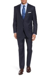 Peter Millar Men's Big And Tall Classic Fit Check Wool Suit Navy