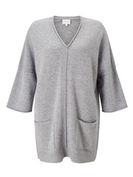 East V Neck Tabbard Sweater Grey