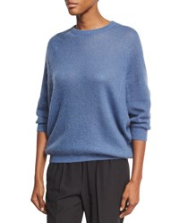 Brunello Cucinelli Ribbed Knit Crewneck Sweater Blue