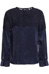 Raoul Cotton Blend Corded Lace And Textured Satin Blouse Navy