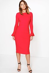 Boohoo Frill Sleeve Fitted Midi Dress Red