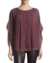 Max Studio Geometric Print Georgette Poncho Top Wine