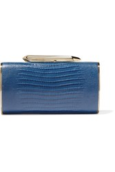 Kotur Bailey Croc Effect Leather Clutch Navy