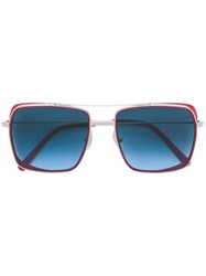 Oxydo Square Tinted Sunglasses Red