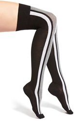 Emilio Cavallini Hosiery Emilio Cavallini Cotton Blend Over The Knee Socks Black Gray White