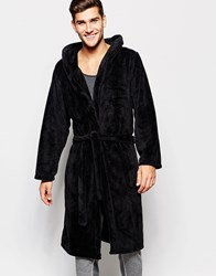 Asos Loungewear Dressing Gown In Fluffy Fabric Black
