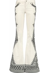 Alice Olivia Ryley Embroidered Low Rise Flared Jeans Cream