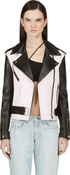 Filles A Papa Pink And Black Leather Ralph Biker Jacket