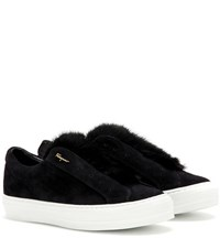 Salvatore Ferragamo Foxy Fur Fur Trimmed Suede Slip On Sneakers Black