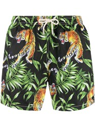 Mc2 Saint Barth Tiger Print Swim Shorts Black