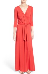 Loveappella Women's Loveapella Three Quarter Sleeve Maxi Dress Red