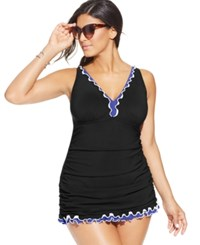 Gottex Profile By Plus Size Tummy Control Ruffled One Piece Swimdress Women's Swimsuit Black Blue