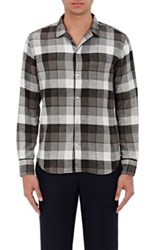 Officine Generale Men's Plaid Cotton Twill Shirt Grey Black White Grey Black White