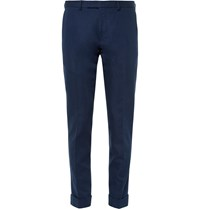 Gant Navy Smarty Pants Slim Fit Cotton And Linen Blend Trousers