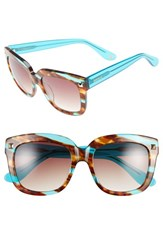 Women's Kensie 'Colette' 53Mm Studded Retro Sunglasses Striped Teal And Tortoise