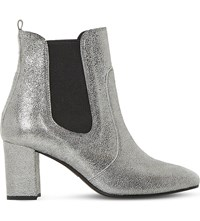 Dune Parade Suede Chelsea Boots Silver Metallic