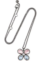 Larkspur And Hawk Sadie Butterfly Rhodium Dipped Quartz Necklace Silver