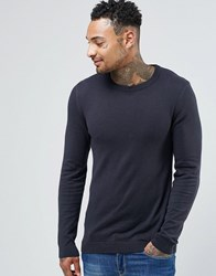 Asos Crew Neck Jumper In Navy Cotton Navy