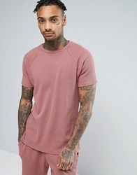 Asos Waffle T Shirt In Pink Paver Red