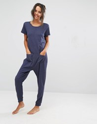 Asos Lounge Ribbed Short Sleeve Jersey Jumpsuit Navy