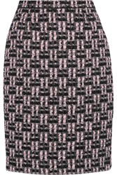 Oscar De La Renta Metallic Boucle Tweed Pencil Skirt Pink