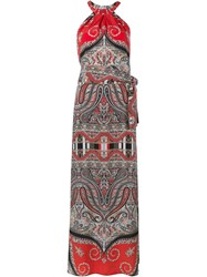 Etro Halter Neck Silk Dress Red