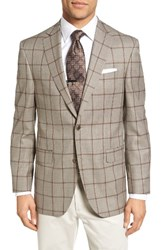 David Donahue Men's Big And Tall Connor Classic Fit Windowpane Wool Sport Coat Tan