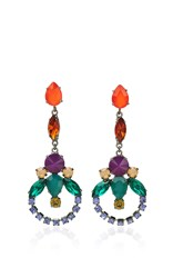 Sharra Pagano Red And Green Crystal Earrings Multi