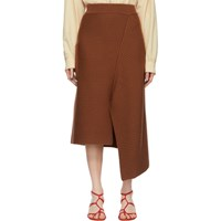 Tibi Brown Merino Rib Origami Slit Skirt