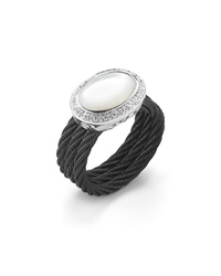 Alor Noir Oval Cut Mother Of Pearl And Diamond Ring Size 6.5