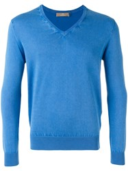 Cruciani V Neck Jumper Blue