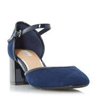 Linea Crawford Two Part Block Heel Court Shoes Navy