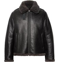 Acne Studios Shearling Trimmed Leather Jacket Black