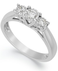Trumiracle 14K White Gold Ring Diamond Three Stone Ring 1 4 Ct. T.W.
