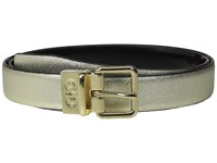 Cole Haan 25Mm Saffiano To Patent Feather Edge Reversible Belt Gold Saffiano Women's Belts Brown