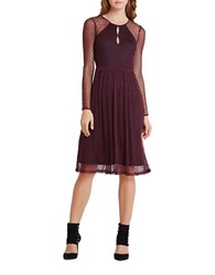 Bcbgeneration Long Sleeve Dotted Mesh Midi A Line Dress Bordeaux