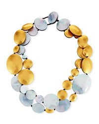 Viktoria Hayman Two Strand Disc Necklace Gold Silver