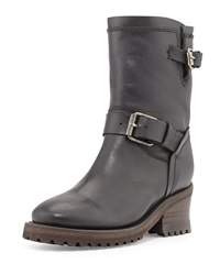 Ash Buckled Leather Mid Calf Boot Black