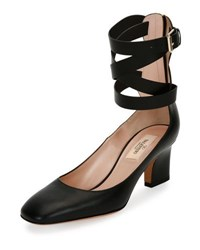 Valentino Plum Leather Back Zip Ankle Wrap Pump Black