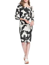 Tracy Reese Stretch Crepe Ruched Knee Length Dress Black Cream