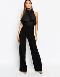 Aq Aq Aqaq Lourdey Jumpsuit With High Frill Neck Black